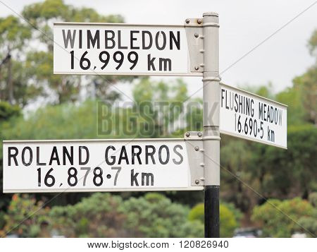 Sign stating distance from sign to Roland Garros Flushing Meadow and Wimbledon 3 of the 4 Tennis Grand Slam locations Melbourne 2016 poster