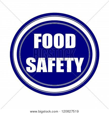 Food safety white stamp text on blueblack poster