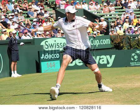 US Tennis Player John Isner During Davis Cup Singles Against A