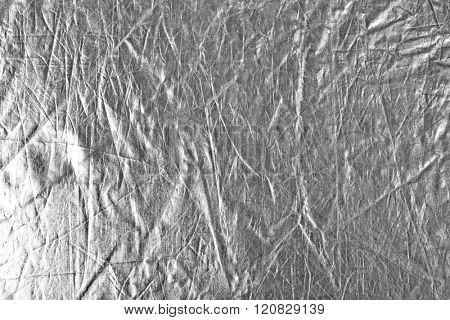 Silver foil background, close up