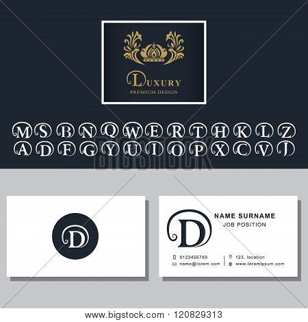 Business Card Template. Letters Design For Business Cards. Abstract Modern Monogram Design Elements.