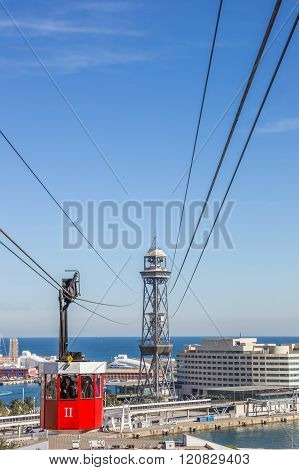 Cable Car From Montjuic To The Harbor In Barcelona