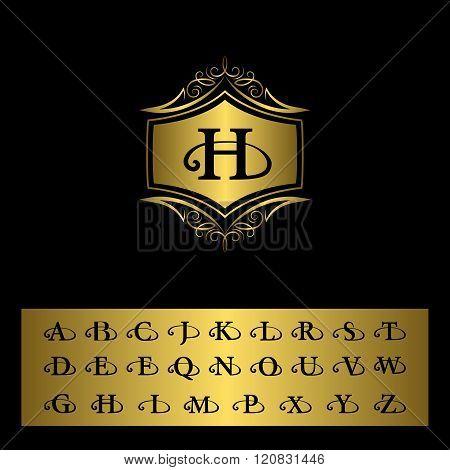 Monogram Design Elements, English Letters. Elegant Line Art Logo Design. Gold Emblem H. Business Sig