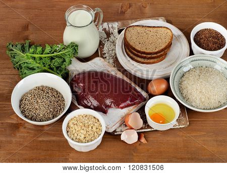 Foods Highest In Thiamin (vitamin B1) On A Wooden Background.