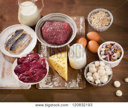 Foods Highest In Vitamin B12  On A Wooden Background. Healthy Eating.