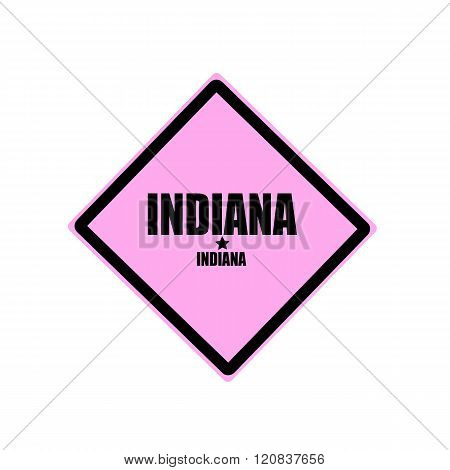 Indiana Black Stamp Text On Pink Background