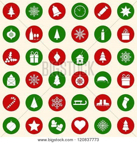 Set of Christmas icons on color background, vector ilustration