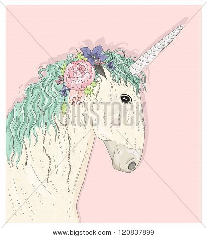 Cute unicorn with flowers. Fairytale vector illustration for kids or children.