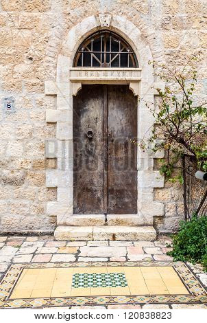 Old Double Door With Half Round Transom, Jerusalem