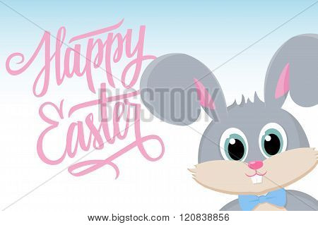 Cute easter bunny with Happy Easter greetings. Happy Easter greeting card.