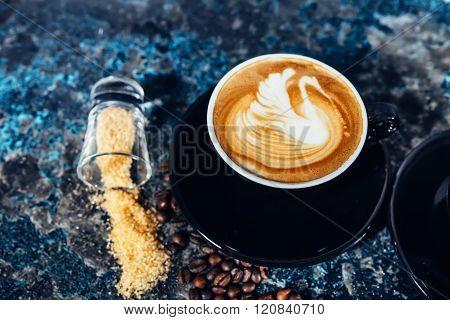 Coffee Latte Art, Barista And Bartender Creating Machiatto Coffee