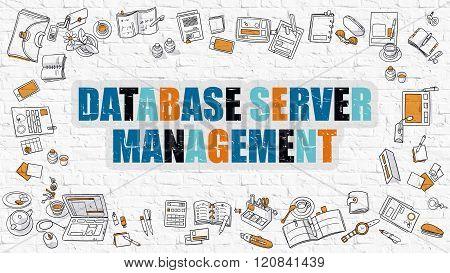 Database Server Management in Multicolor. Doodle Design.