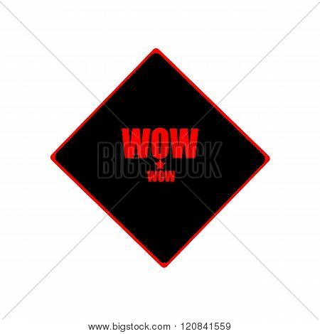 Wow Red Stamp Text On Black Background