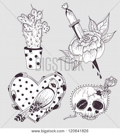 Cute tattoo set. Cactus flower skull and bird with heart.