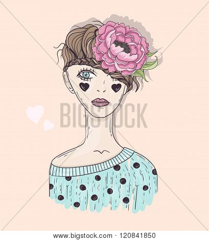 Cute fashion girl illustration. Young girl with braided hair flower and hearts.