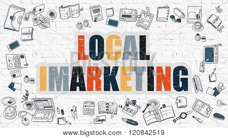 Local Imarketing in Multicolor. Doodle Design.