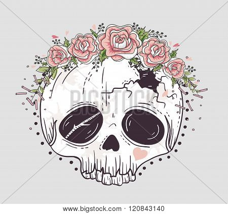 Cute tattoo style skull. Skull with flower crown. Sugar skull.