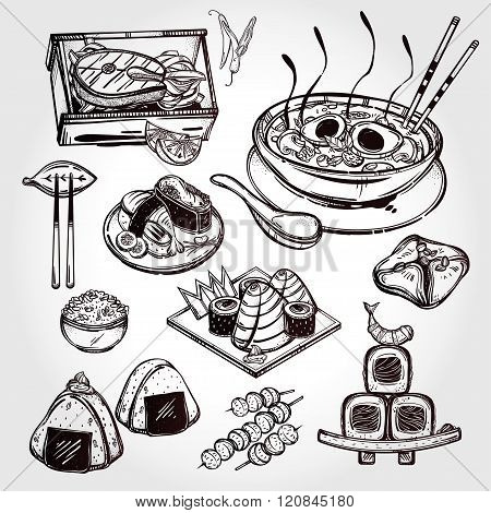 Japanese foods vector set.