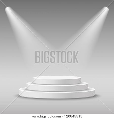 Illuminated round white stage podium.