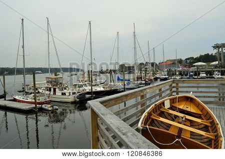 Belfast, Maine/USA-August 2: View from a deck overlooking the harbor in Belfast, Maine on August 2, 2014.