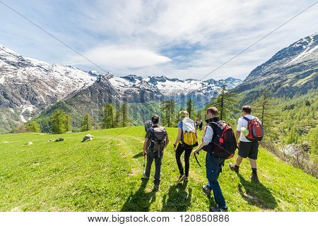 Group Of Hikers Exploring The Alps, Outdoor Activities In Summer