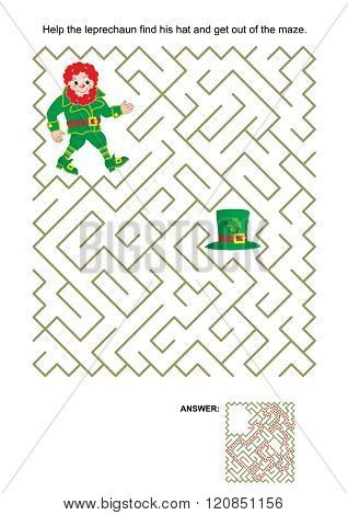 Maze game with leprechaun and his hat