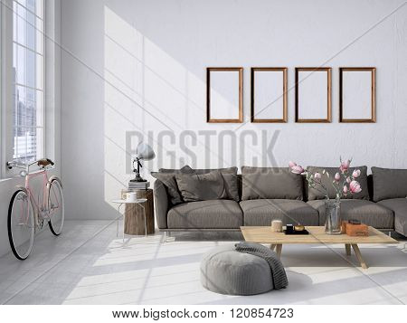 living room loft interior. 3d rendering