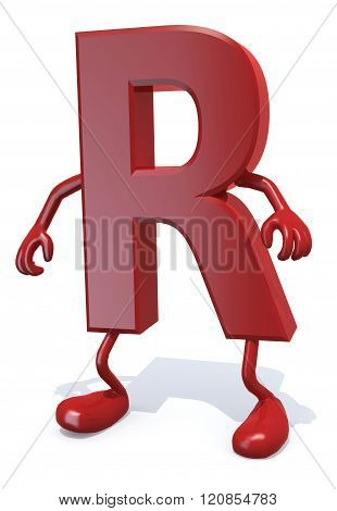 Letter R With Arms And Legs Posing