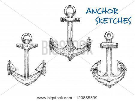 Vintage sketched sea anchors set