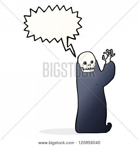 cartoon waving halloween ghoul with speech bubble