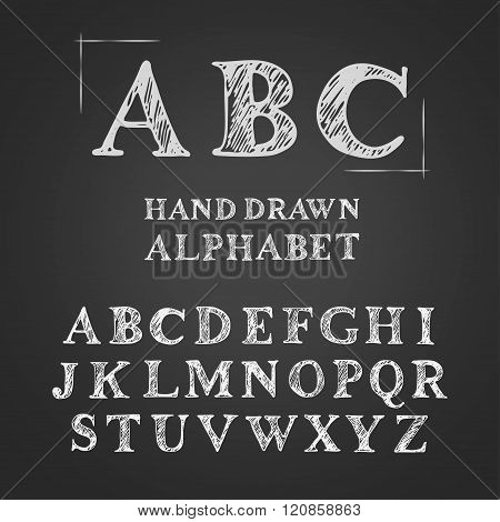 Vector Uppercase English Chalk Hand Drawn Alphabet