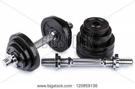 Ajustable Dumbbells  And Stack Of Metallic Disks
