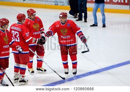 MOSCOW - JANUARY 29 2016: I. Byakin (6) just before hockey game Finland vs Russia on League of World legends of Ice hockey championship in VTB ice arena Russia. Russia won 6:2