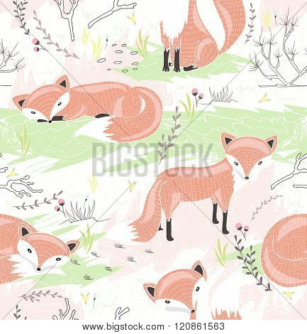 Seamless pattern with little foxes. Cute spring background for kid or children.