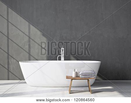 Modern grey bathroom with bathtub. 3d rendering