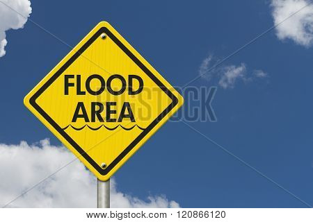 Yellow Warning Flood Area Highway Road Sign Red Yellow Warning Highway Sign with words Flood Area with sky background