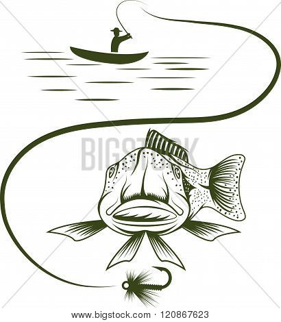 Fisherman In Boat And Funny Trout . Concept Of Graphic Clipart Work
