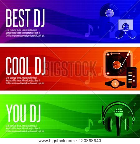 Vector Banners Set Of Dj And Music Theme