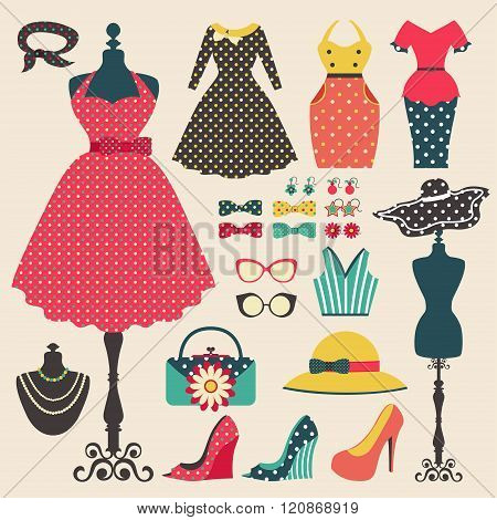 Old Retro Woman Fashion Clothes, Garment, And Accessories Flat Icon Design In Vintage Pastel Color S