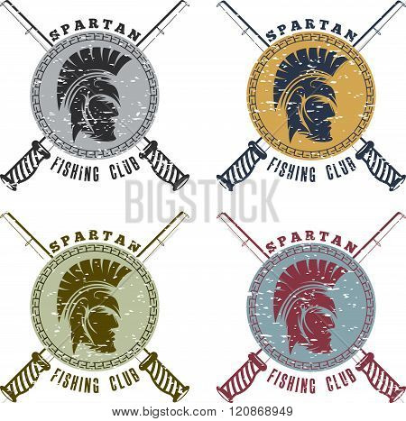 Grunge Spartan Fishing Club Labels With Warrior Head