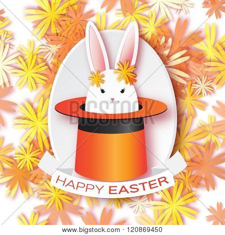 Origami Orange Greeting card with Happy Easter - with white Easter rabbit.