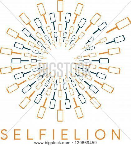 Dandelion With Phones And Selfie Stick Vector Design Concept