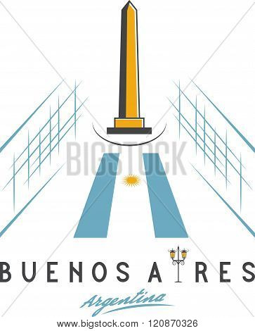 Vector Illustration Of National Historic Monument The Obelisk Of Buenos Aires