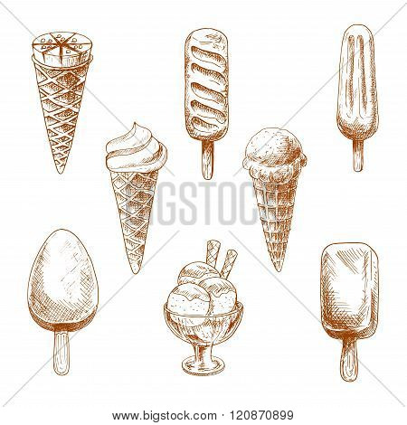 Ice cream desserts engraving sketches