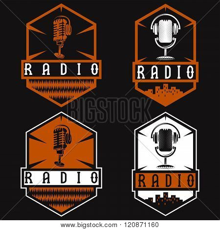Vintage Labels Of Radio With Microphone And Headphones