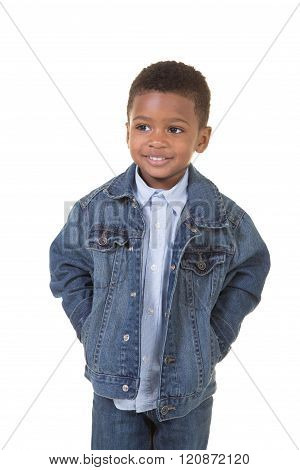 Portrait of a young happy boy isolated on white