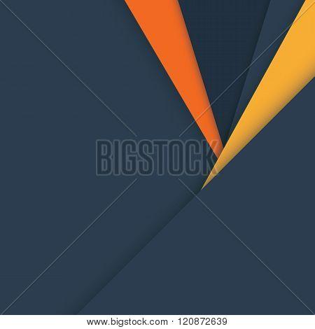 Material design vector background in dark grey and orange colors.