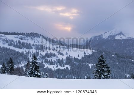 Cloudy Winter View In The French Alps