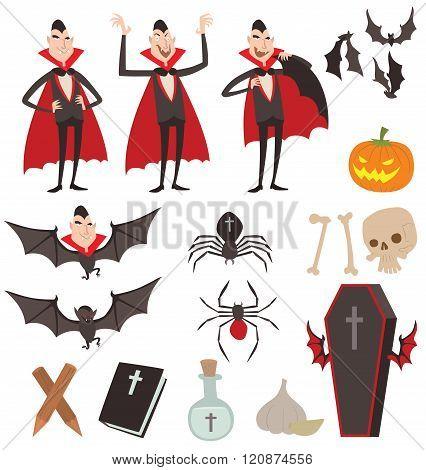 Cartoon Dracula vector symbols icons