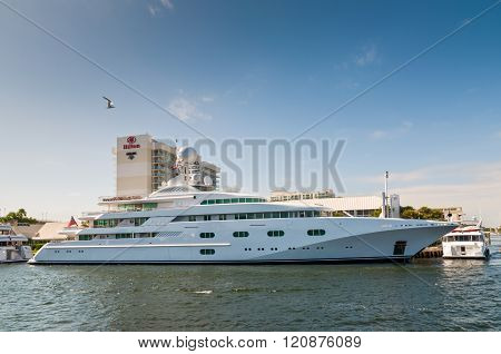 Luxury Motor Yacht Pegasus V At Waterfront Side In Fort Lauderdale